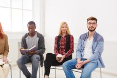 Meeting of support group, copy space. Trust circle. Company of people sitting together. Meeting of support group, copy space stock photo