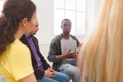 Meeting of support group, therapy session royalty free stock photography