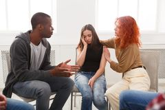 Meeting of support group, therapy session royalty free stock images