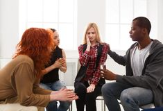 Meeting of support group, therapy session royalty free stock photos