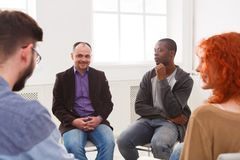 Meeting of support group, therapy session stock photos