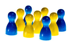 Meeting Sweden. Meeting in Sweden symbolized by the national flag built of wooden figures, isolated Royalty Free Stock Images