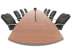 Meeting table from boss point of view Royalty Free Stock Photos