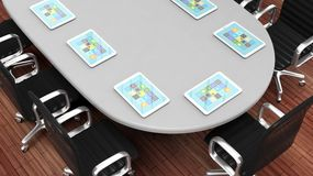 Meeting table closeup with tablets Stock Photos