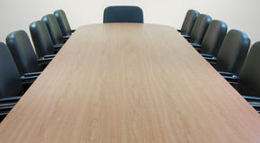 Meeting table. Empty meeting room and conference table Royalty Free Stock Images