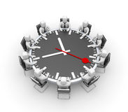 Meeting. Table in the form of clock Royalty Free Stock Image