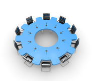 Meeting. Table in the form of gear Stock Images