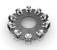 Meeting. Table in the form of gear Stock Image