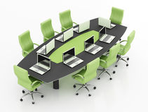 Meeting table with notebook Stock Images