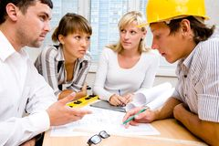 Meeting the team of engineers Stock Photos