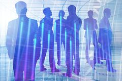 Meeting, teamwork, finance and analysis concept. Businesspeople silhouettes in modern office interior with forex chart. Meeting, teamwork, finance and analysis Royalty Free Stock Photography