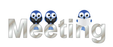 Meeting. Text with bird businessmen isolated on white background Stock Photography