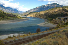 The meeting of the Thompson (right) and Fraser (left) Rivers,. Lytton, British Columbia, Canada Stock Photos