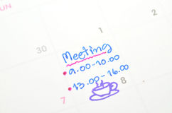 Meeting on time planner Royalty Free Stock Image