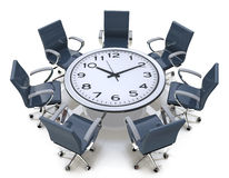 Meeting time - round table with a large clock face Stock Photography