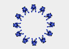 Meeting, top view. Twelve 3d figures sitting in a circle, blue over white background Stock Photos