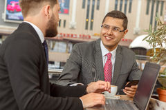 Meeting of two business partners. In cafe Royalty Free Stock Photography