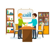Meeting of two business partners in a quiet cozy atmosphere. Royalty Free Stock Photos