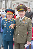 Meeting of two generals old friends on celebration on annual Vic Royalty Free Stock Images