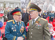 Meeting of two generals old friends on celebration on annual Vic Royalty Free Stock Photos