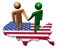 Meeting on USA map flag Royalty Free Stock Photo