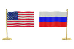 Meeting USA with Russia concept Stock Photo