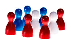 Meeting USA. Meeting in the USA symbolized by the national flag built of wooden figures, isolated Royalty Free Stock Image