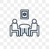 Meeting vector icon isolated on transparent background, linear M royalty free illustration