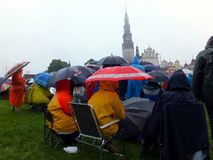 Meeting, vigil, prayer, worship in the pouring rain Stock Photography