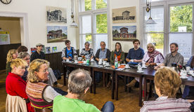 Meeting with voters. Claudia Roth, former National Chairman of the green party, Germany, now Vice-President of the German Bundestag (rear, 2nd from right) at a Royalty Free Stock Photography