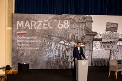 The speech of the President of the Council of Ministers of the Republic of Poland - Mateusz Morawiecki. The meeting was held as part of the celebrations of the Stock Image