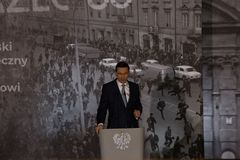 The speech of the President of the Council of Ministers of the Republic of Poland - Mateusz Morawiecki. The meeting was held as part of the celebrations of the Stock Photos