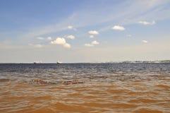 Meeting of Waters Phenomenon (The Amazonia). A very uncommon fisical phenomenon in the Amazon forest, the Meeting of Waters  occurs at the confluence of Rio Stock Photo