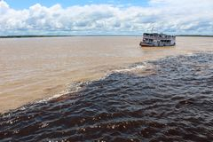 Meeting of the waters of Rio Negro and Amazon River. Meeting of the Waters of Rio Negro and the Amazon River or Rio Solimoes near Manaus, Amazonas, Brazil in stock image