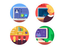 Meeting or web conference icon set Stock Images