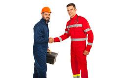 Meeting worker with paramedic Royalty Free Stock Image