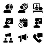 Meeting, Workplace, Business Communication Solid Icons vector illustration