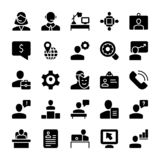 Meeting, Workplace Solid Icons Set royalty free illustration