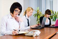 Meeting of young business ladies Stock Images