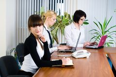Meeting of young business ladies Stock Photo