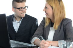 Meeting of young business partners. Isolated Royalty Free Stock Photos