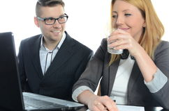 Meeting of young business partners. Isolated Royalty Free Stock Images