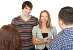 Meeting of young pair with parents. Stock Photos