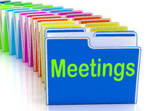 Meetings Folders Means Talk Discussion Or Conference Royalty Free Stock Photography