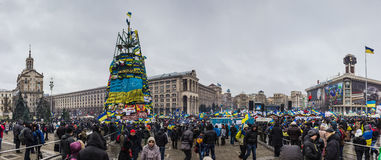Meetingy para la integración europea en el centro de Kiev Foto de archivo libre de regalías