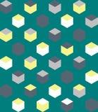 Meetkundedoos op groen naadloos patroon als achtergrond Royalty-vrije Stock Afbeelding