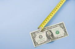 Meetlint met één dollargeld, ruimte voor tekst op l royalty-vrije stock foto