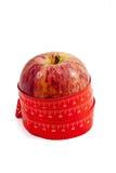 Meetlint om appel wordt verpakt die Royalty-vrije Stock Foto's