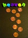 Meevaller: pence van hemel? Stock Foto