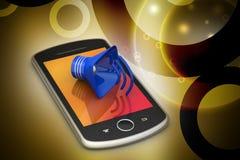 Megáfono con el teléfono elegante Imágenes de archivo libres de regalías